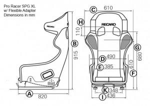 RECARO Pro Racer SPG XL & SPA XL – Grafico con attacchi laterali flessibili